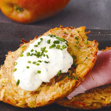Kanzi® Apple & Potato Rosti with Ham & Chive Creme Fraiche
