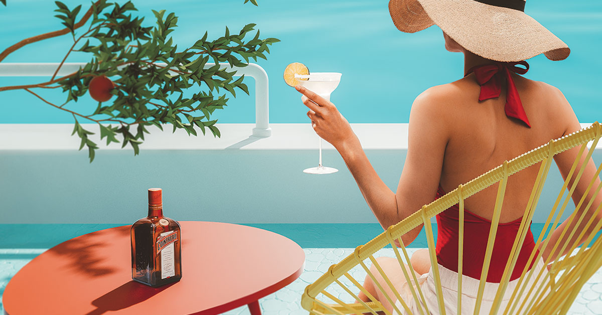Woman drinking Cointreau